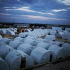 9 December: A general view of a refugee camp near the Turkish border, in Azaz. (AP Photo/Manu Brabo)