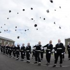 Naval Service Potential Non Commissioned Officers celebrate at the end of their passing out parade in Haulbowline, July 2012.