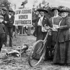 Image dated January 1913: Suffragettes from various parts of the country cycled to London for a meeting of the Suffragette Movement. (PA Archive)