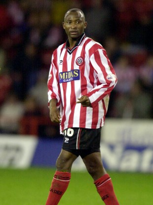 Peter Ndlovu in action for Sheffield United (file photo).