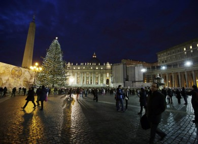 A 24-metre Christmas tree stands in St Peter's Square at the Vatican.