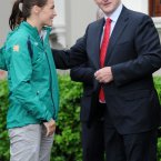 Meeting Olympic gold medallist Katie Taylor. Pic: Laura Hutton/Photocall Ireland