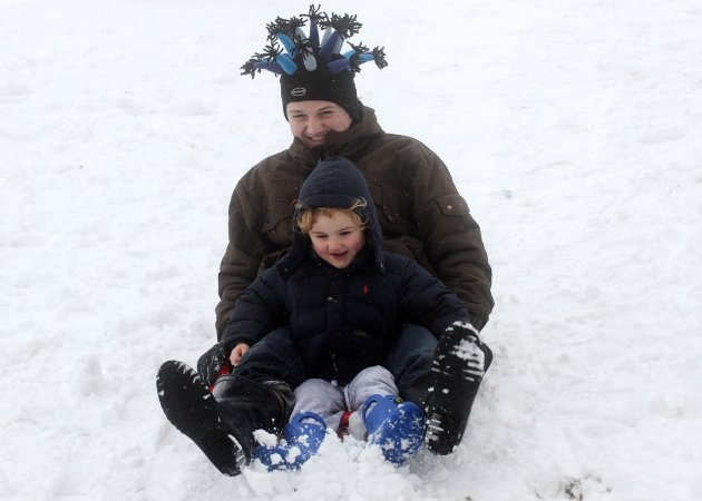 21/01/2013. Snow. David McCoy and his son Killian