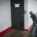 One youngster is inspired as he kicks a ball around outside the dressing-rooms in Ballymahon.