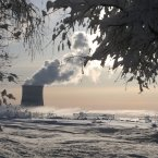 A smoke of heating plant is seen on a winter's morning in Minsk, Belarus.  (AP Photo/Sergei Grits)