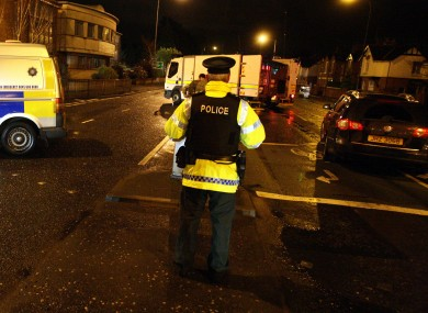 Police seal off the Upper Newtownards Road after the booby-trap bomb was discovered on Sunday afternoon.