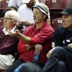 Bill Murray is not happy with the outcome of this basketball game. (AP Photo/Alice Keeney)