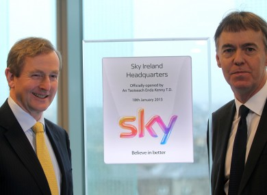 Enda Kenny and Sky CEO Jeremy Darroch at the opening of Sky's Irish headquarters in Dublin today.