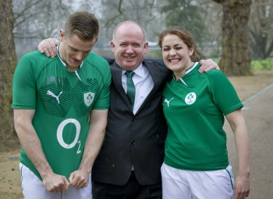 Jamie Heaslip and Fiona Coghlan with Declan Kidney.