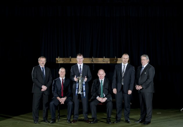Jacques Brunel, Stuart Lancaster, Rob Howley, Declan Kidney, Philippe Saint-Andre and Scott Johnson 23/1/2013