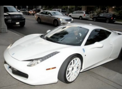 The white Ferrari belonging to Justin Bieber