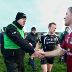 Old friends meet - part 1. Current Sligo manager and former Galway midfielder Kevin Walsh crosses paths with current Galway midfielder Niall Coleman.