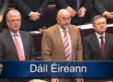 Eamon Gilmore, Ruair Quinn and Brendan Howlin during Leaders' Questions this morning