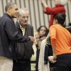 Bill Murray hanging with the Obamas. (AP Photo/Patrick Semansky)