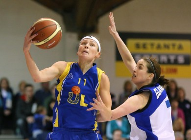 UL Huskies's Rachael Vanderwal under pressure from Niamh Dwyer of Team Montenotte Hotel Cork.