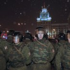 Russian police block the way during an unsanctioned rally in downtown Moscow. (AP Photo/Alexander Zemlianichenko)