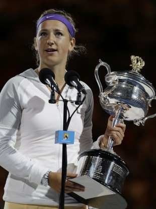 Azarenka with the trophy.