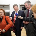 Minister for Health, James Reilly TD, and the Minister of State, Department of Health and Department of Justice, Equality and Defence, Kathleen Lynch TD, talk to TV3's Ursula Halligan after being released from a broken elevator at the opening of the new 54-bed purpose built mental health facility Phoenix Care Centre in Grangegorman, Dublin, today. Photo Mark Stedman/Photocall Ireland