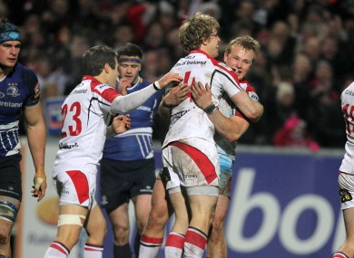 Andrew Trimble celebrates with Luke Marshall.