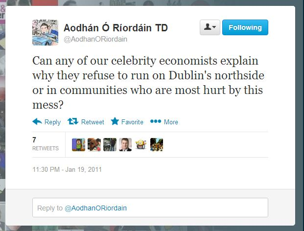 Aodhan tweet celebrity economists