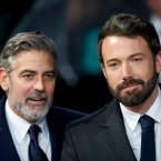 George Clooney and Ben Affleck prepare for Beard Off 2013.