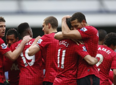 Rio Ferdinand embraces the evergreen Ryan Giggs after his goal.