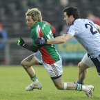 The Mayo attacker went for silver Adidas boots in this league game against Dublin last year.