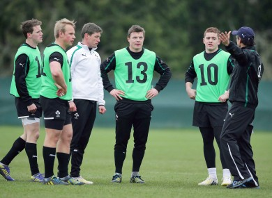 Craig Gilroy, Luke Marshall, Ronan O'Gara, Brian O'Driscoll and Paddy Jackson listen to Les Kiss.