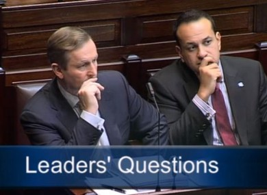 Enda Kenny and Leo Varadkar during Leaders' Questions today