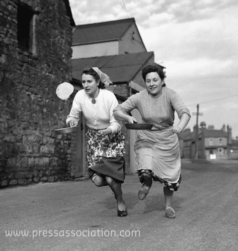 Customs and Traditions - Pancake Race - Olney, Buckinghamshire