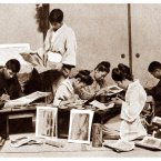 Enami's assistants colour photos by hand at his studio in Yokohama, circa 1895-7. Flickr/Rob Oechsle (originally T. Enami)