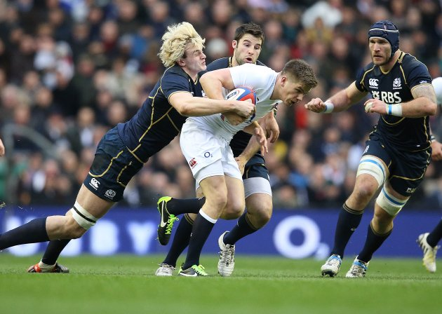 England's Owen Farrell tackled by Scotland's Richie Gray 2/2/2013