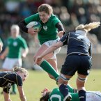 Fiona Coghlan tries to break the Scottish line.