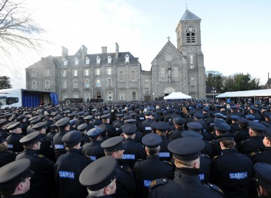Garda attending the funeral of Detective Garda Adrian Donohoe last month.