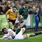 Ireland's Gerry Hurley evades Billy Johnson of England Counties.
