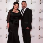 Aine Moriarty, CEO of IFTA and her husband Seamus Griffin arriving on the the red carpet for the 10th Annual Irish Film & Television Awards at the Convention Centre, Dublin.
