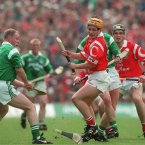 Joe Deane breaks his wand against Limerick in 1998. (©INPHO/Lorraine O'Sullivan)