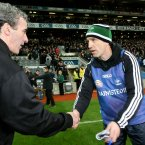 Kildare Mmnager Kieran McGeeney and Jim McGuinness of Donegal shake hands after the game. Pic: INPHO/Ryan Byrne
