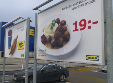 Advertising for Ikea meatballs at the parking area at an Ikea store in Malmo Sweden