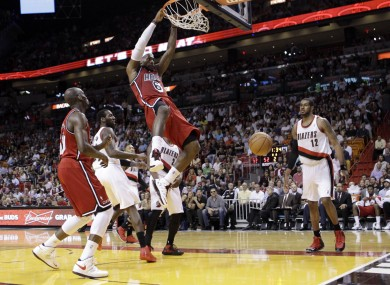 Miami Heat's LeBron James (6) against the Portland Trail Blazers during an NBA basketball game.