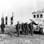 Members of a Nazi tank crew line up near ruined buildings in Stalingrad as their leader is presented with the Knights Cross, an award for destroying nine red tanks in 20 minutes, in 1942 during World War II. (AP Photo)