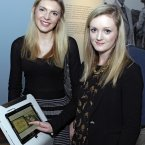 Enjoying the Samsung interactive technology at the Yeats exhibition opening in the National Gallery were  Jillian Lowry (L) & Sarah Montague, both from Dublin.