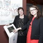Enjoying the Samsung interactive technology at the Yeats exhibition opening in the National Gallery - Catriona Yeats and Pauline Swords.