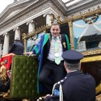 Lord Mayor for Dublin Naoise  Muir leaves his stage coach to watch the start of today's parade 2013. Photo: Sam Boal/Photocall Ireland