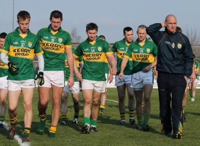 Dejected Kerry players after their defeat to Kildare.
