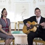 Imelda May and her husband Darrel Higham perform in ras an Uachtarin at the filming of 'Glaoch - The President's Call'.