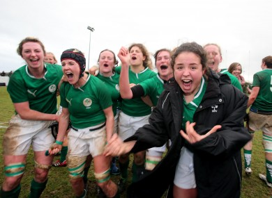 Ireland's Larissa Muldoon celebrates with her team-mates after the game with England last month.