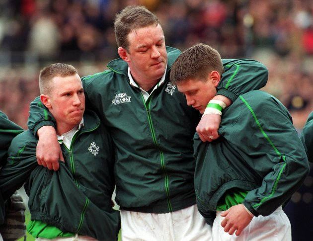 Mick Galwey and Peter Stringer and Ronan O'Gara 4/3/2000