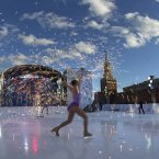 Skaters perform in celebrations launching the one-year countdown for the 2014 Sochi Winter Paralympics in Red Square in Moscow. (AP Photo/Alexander Zemlianichenko)