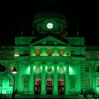 Government Buildings is turned green as St Patrick's festival celebrations commence.